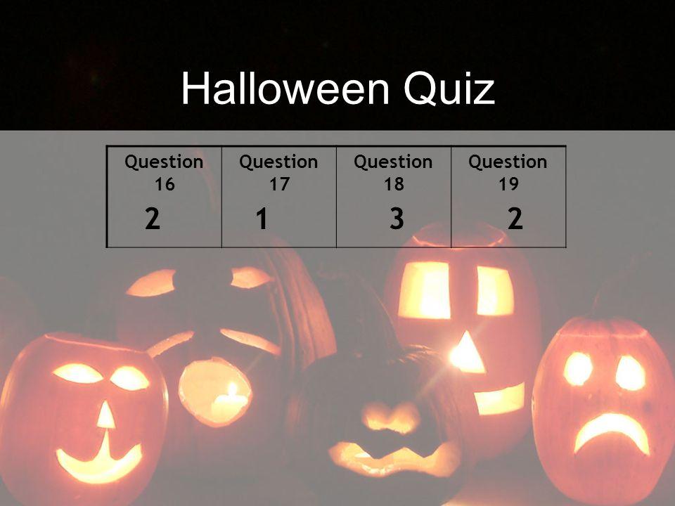 Halloween Quiz Question 16 Question 17 Question 18 Question 19 2 1 3 2