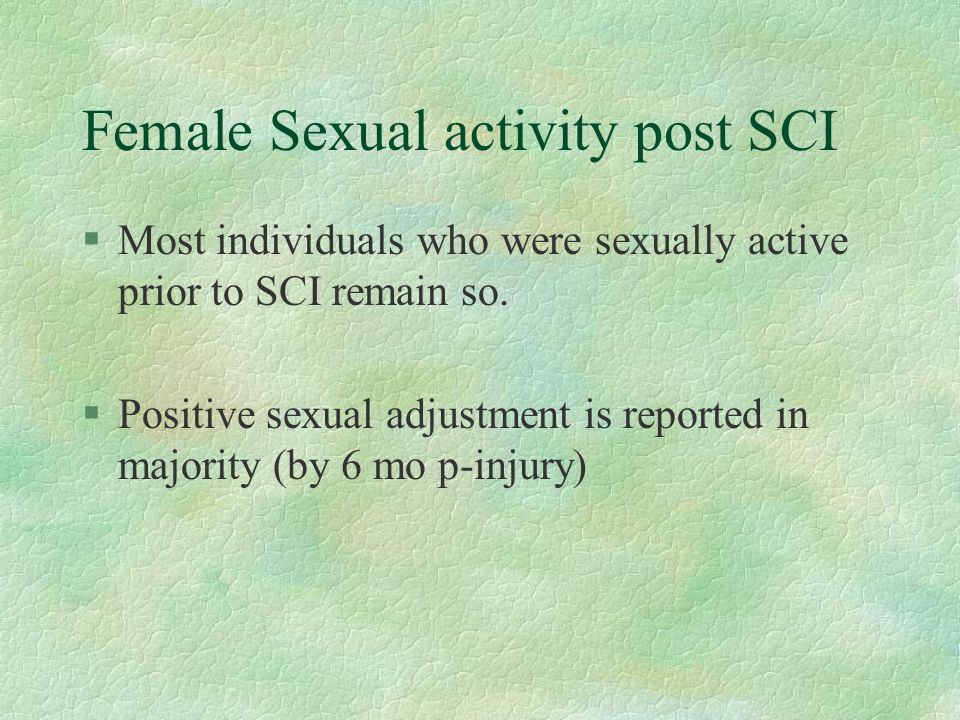 Female Sexual activity post SCI