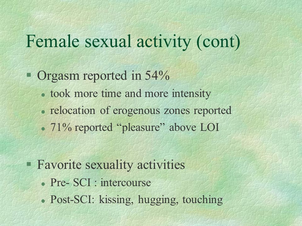 Female sexual activity (cont)