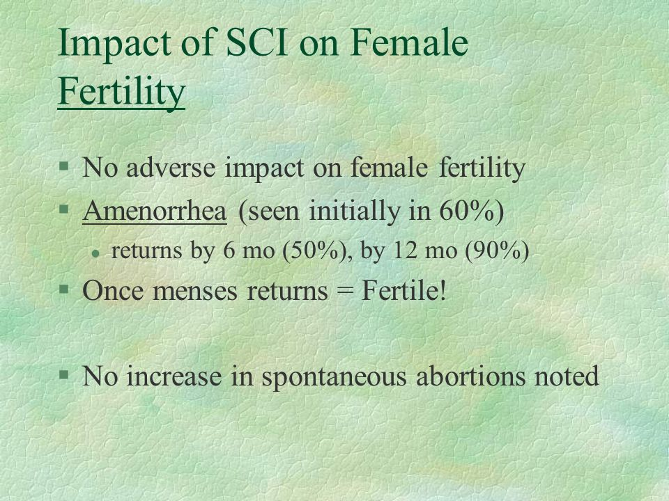 Impact of SCI on Female Fertility
