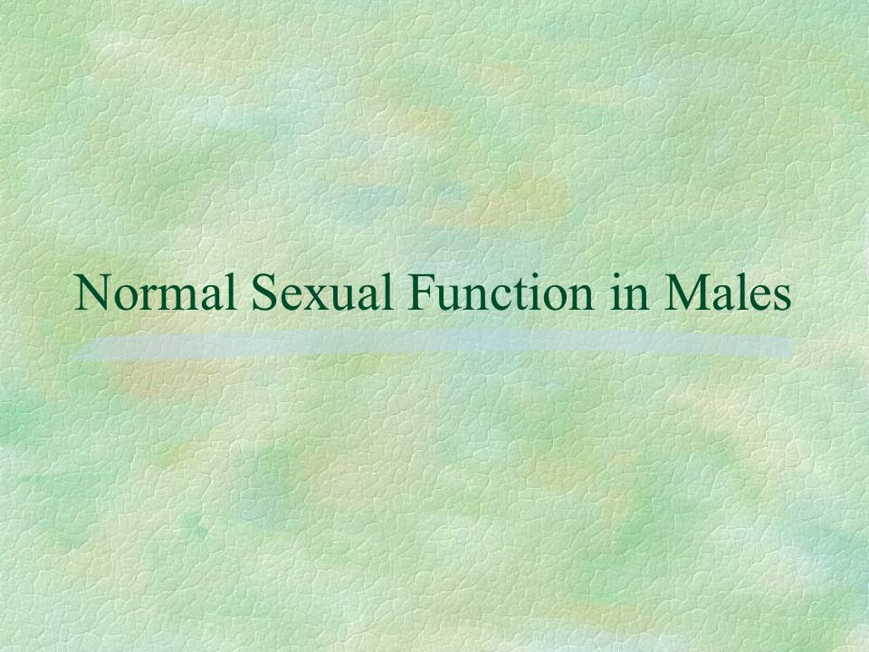 Normal Sexual Function in Males