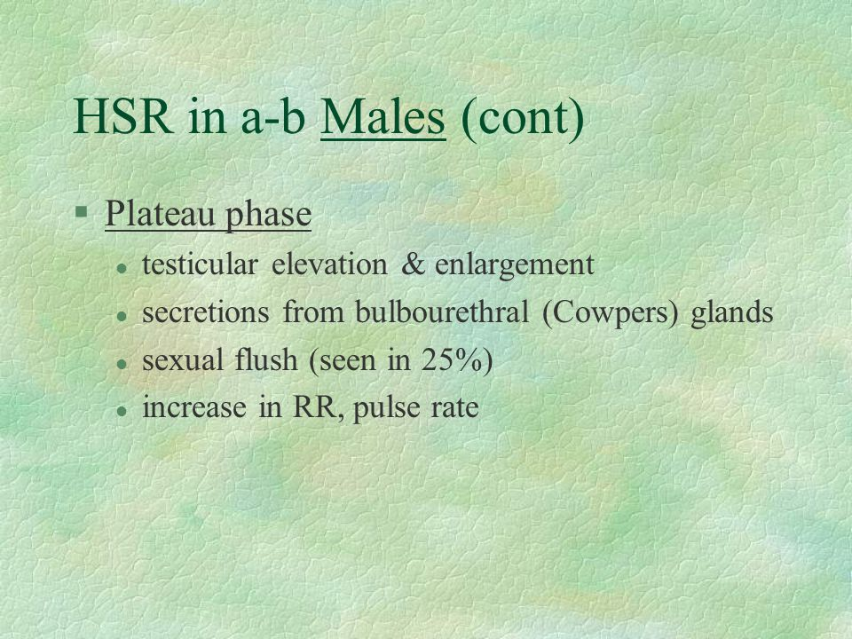 HSR in a-b Males (cont) Plateau phase