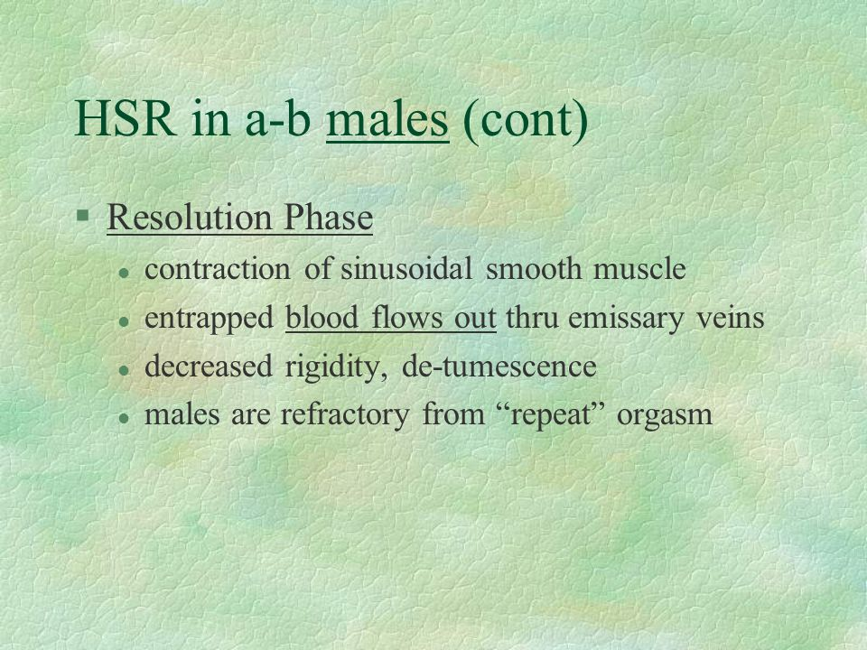 HSR in a-b males (cont) Resolution Phase