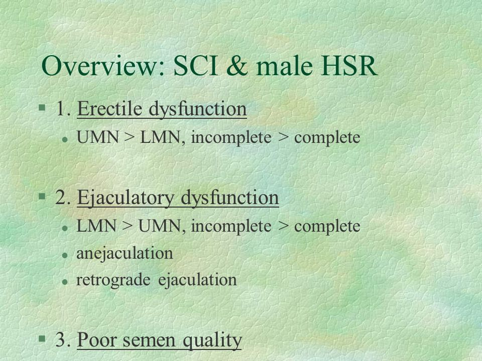 Overview: SCI & male HSR