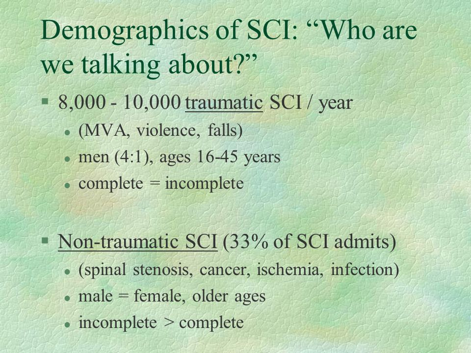 Demographics of SCI: Who are we talking about