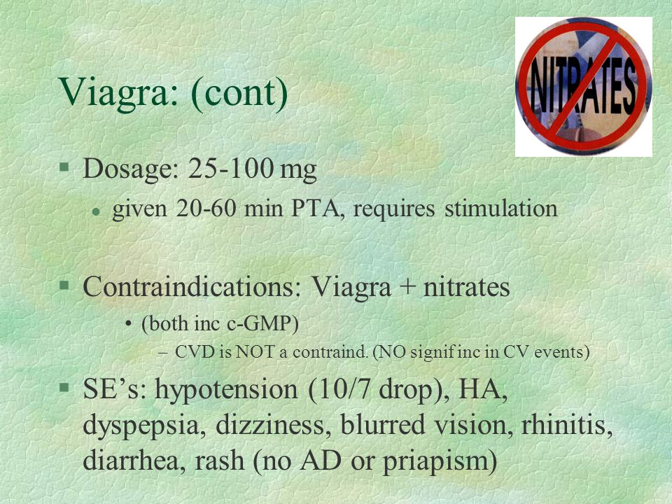 Viagra: (cont) Dosage: 25-100 mg Contraindications: Viagra + nitrates