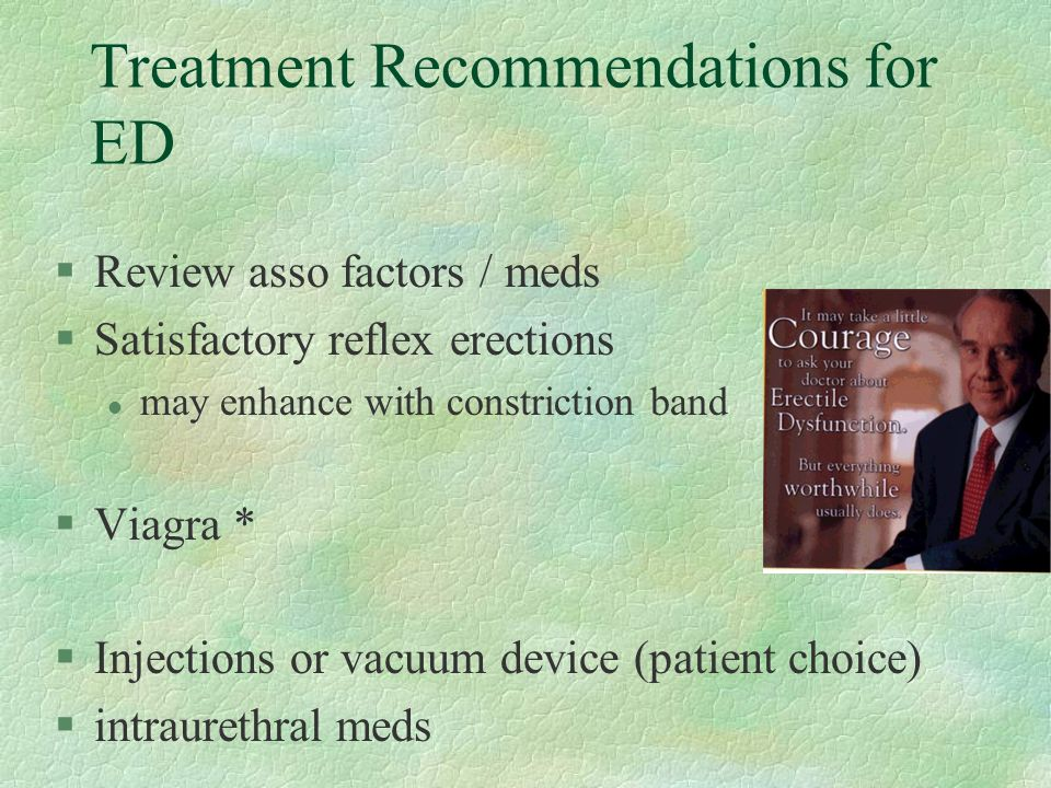 Treatment Recommendations for ED