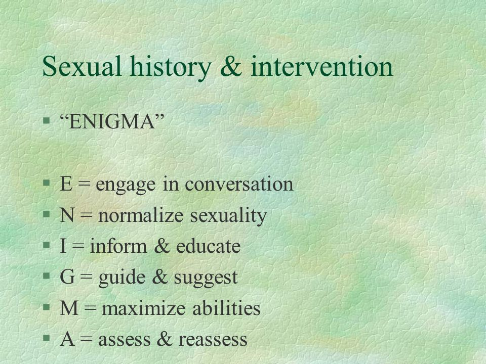 Sexual history & intervention