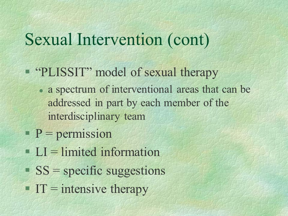 Sexual Intervention (cont)