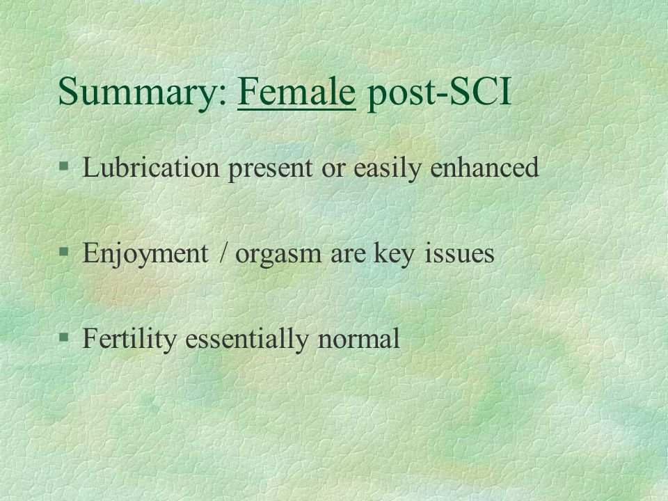 Summary: Female post-SCI