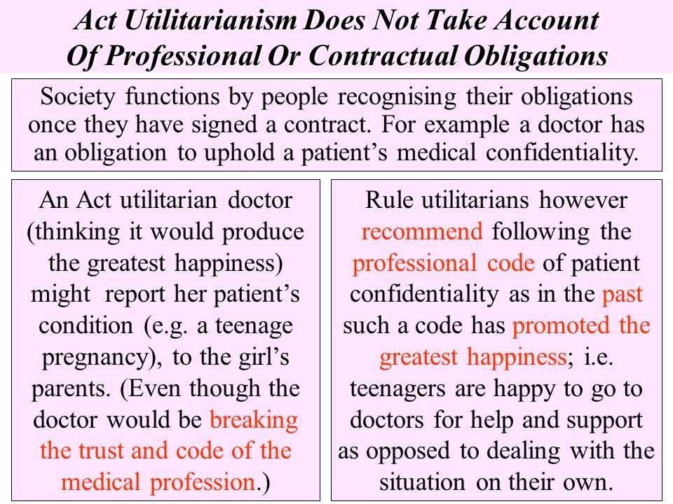 Act Utilitarianism Does Not Take Account Of Professional Or Contractual Obligations