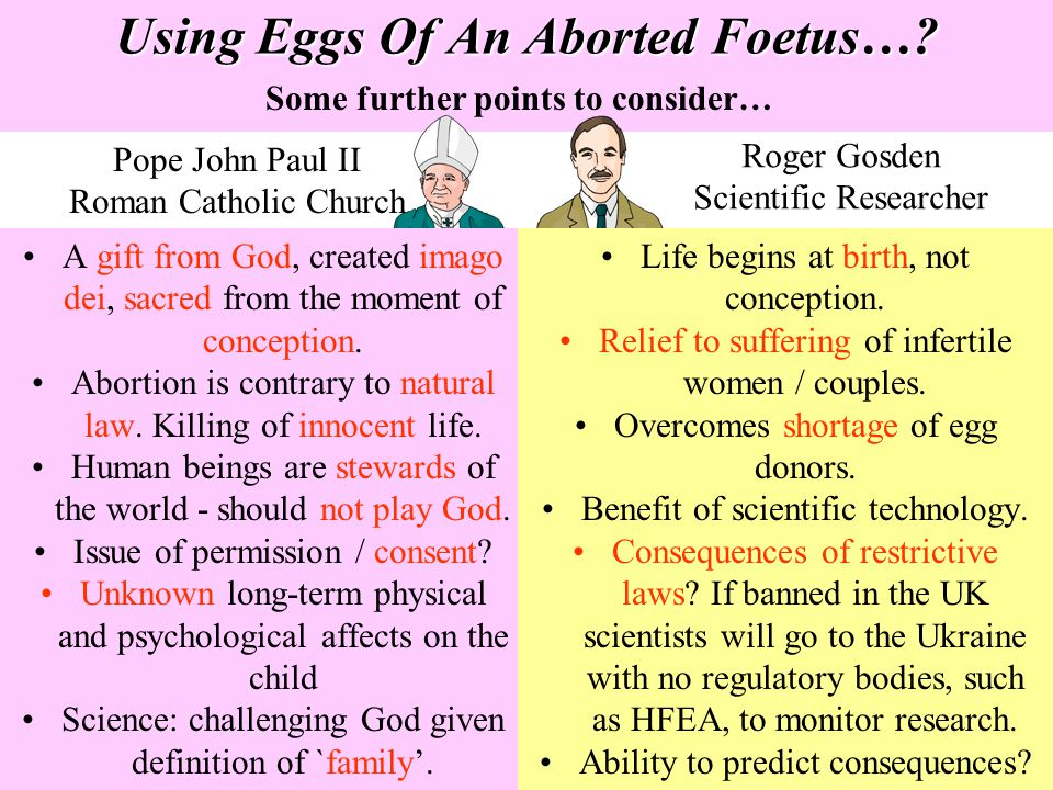 Using Eggs Of An Aborted Foetus…