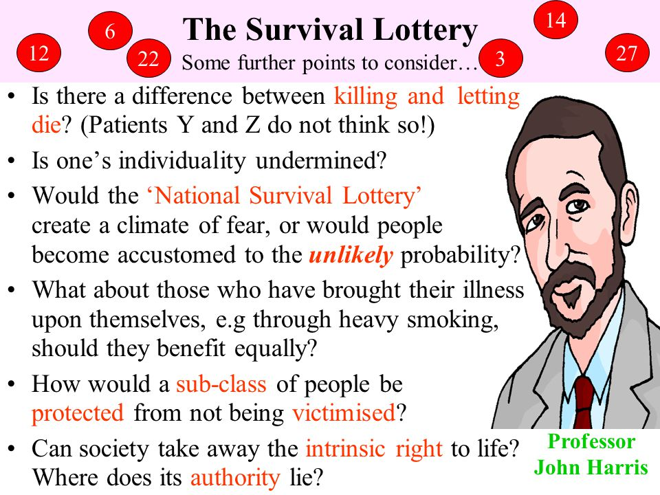 The Survival Lottery Some further points to consider…