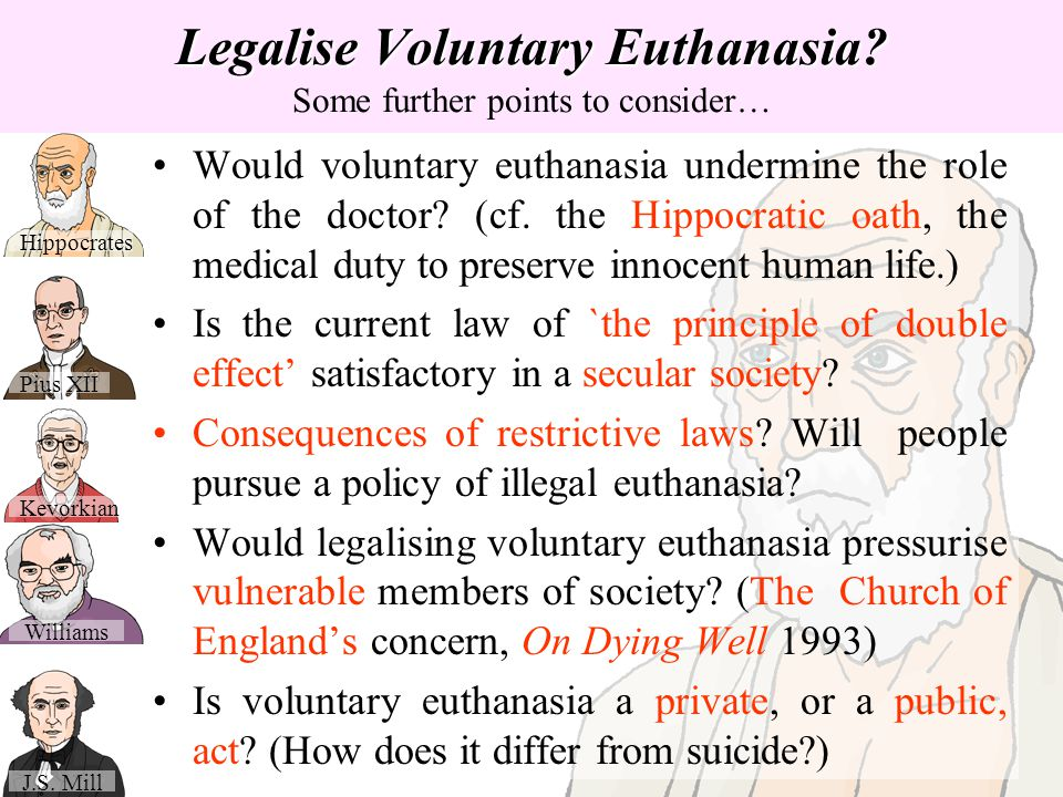Legalise Voluntary Euthanasia Some further points to consider…