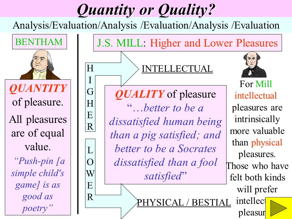 Quantity or Quality J.S. MILL: Higher and Lower Pleasures