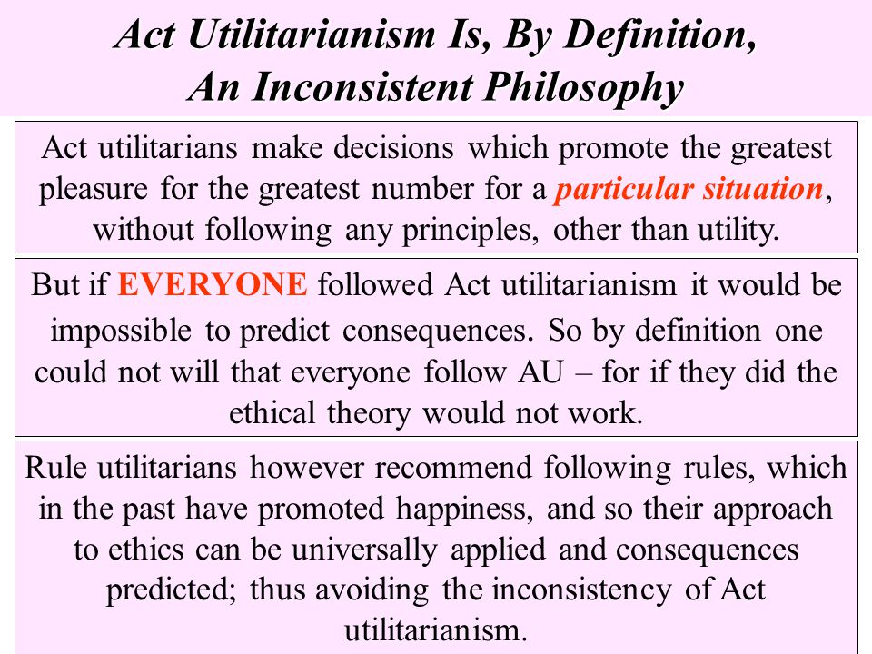 Act Utilitarianism Is, By Definition, An Inconsistent Philosophy