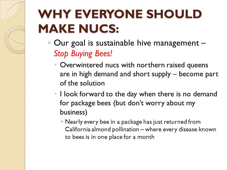 WHY EVERYONE SHOULD MAKE NUCS: