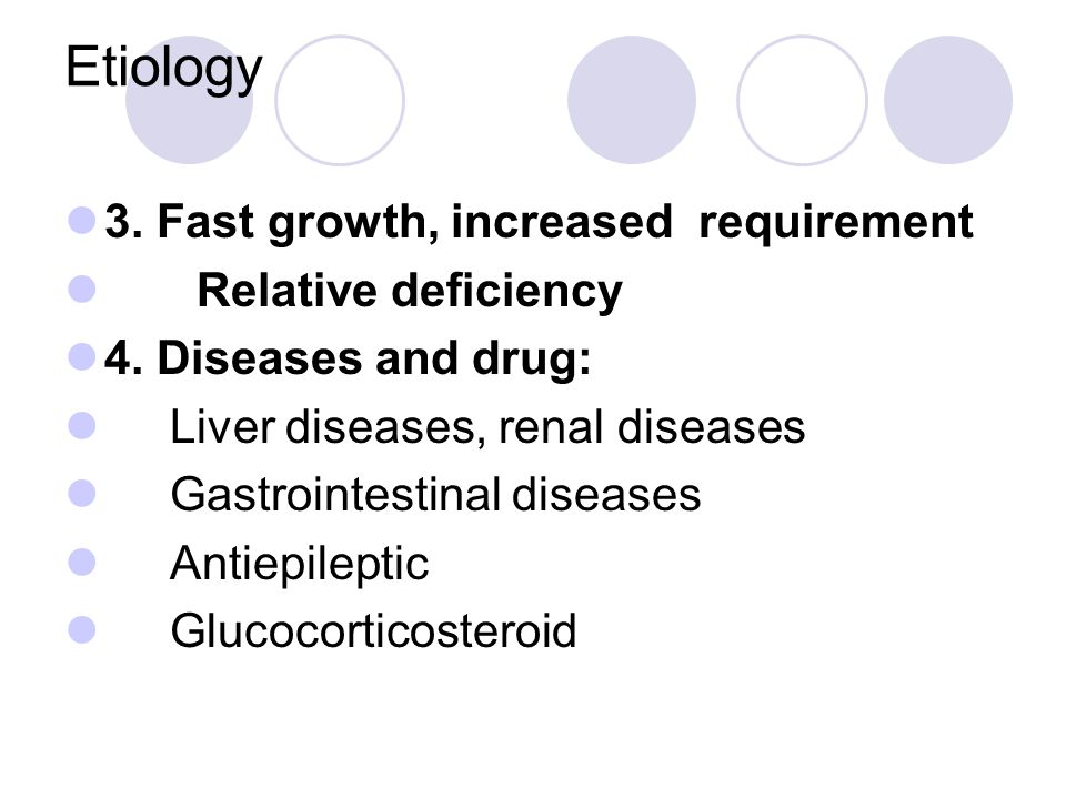 Etiology 3. Fast growth, increased requirement Relative deficiency