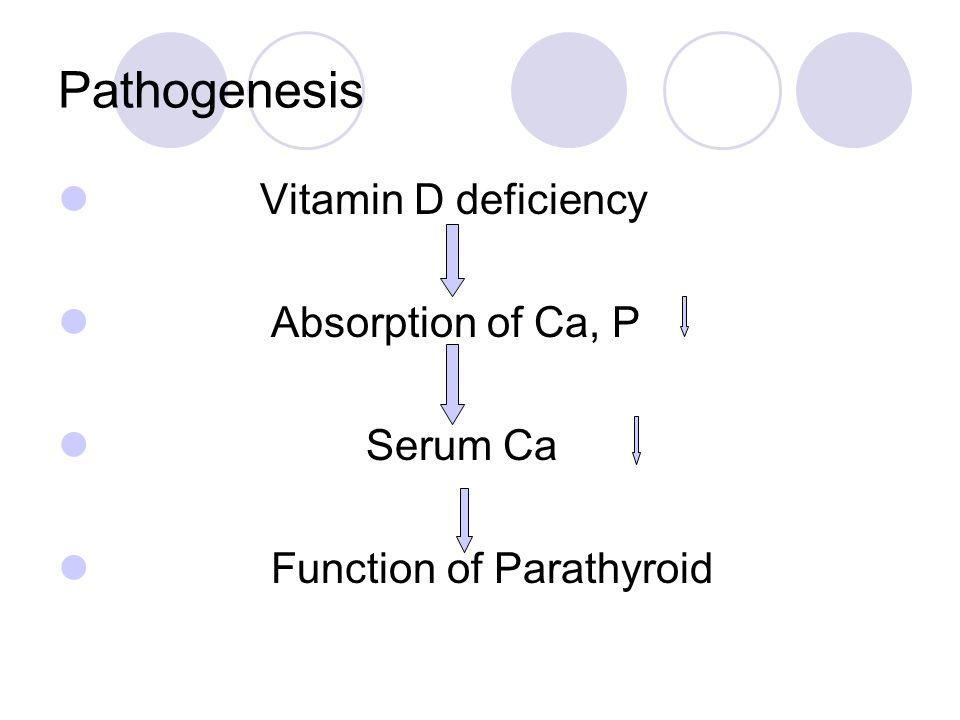 Pathogenesis Vitamin D deficiency Absorption of Ca, P Serum Ca