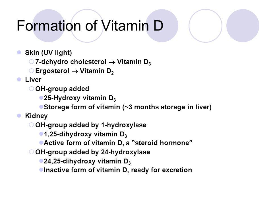 Formation of Vitamin D Skin (UV light)