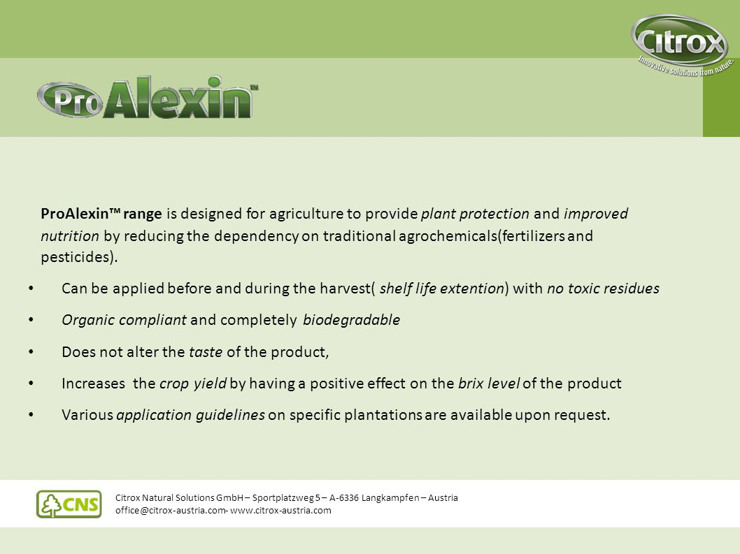 ProAlexin™ range is designed for agriculture to provide plant protection and improved nutrition by reducing the dependency on traditional agrochemicals(fertilizers and pesticides).