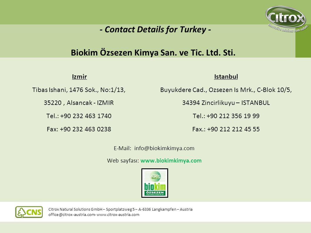 - Contact Details for Turkey - Biokim Özsezen Kimya San. ve Tic. Ltd