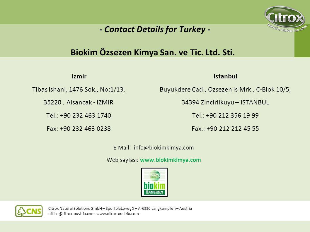 - Contact Details for Turkey - Biokim Özsezen Kimya San. ve Tic. Ltd