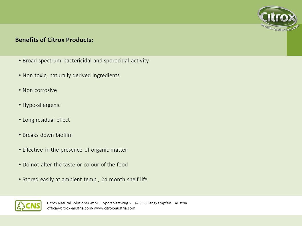 Benefits of Citrox Products: