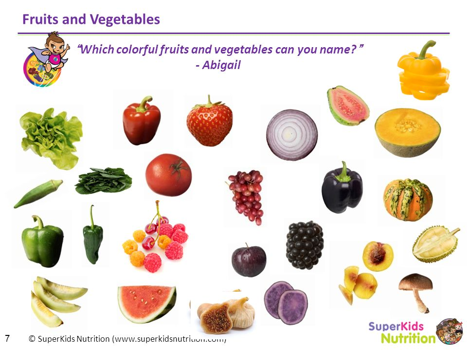 Which colorful fruits and vegetables can you name