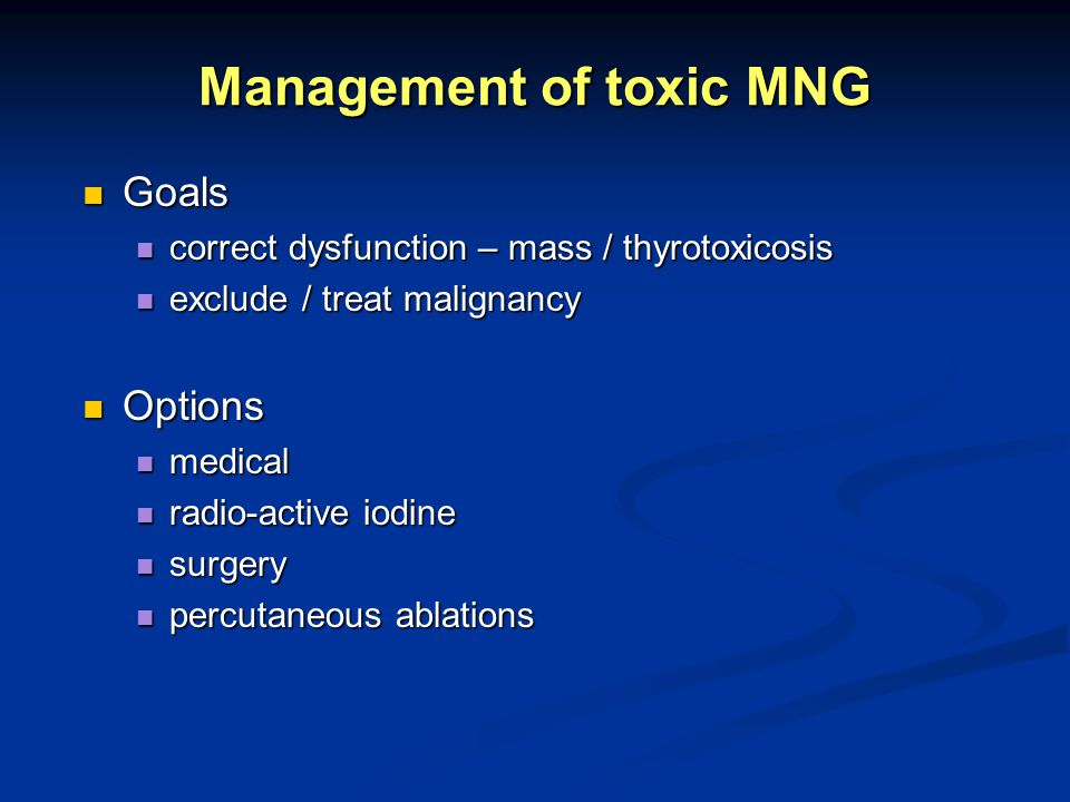 Management of toxic MNG