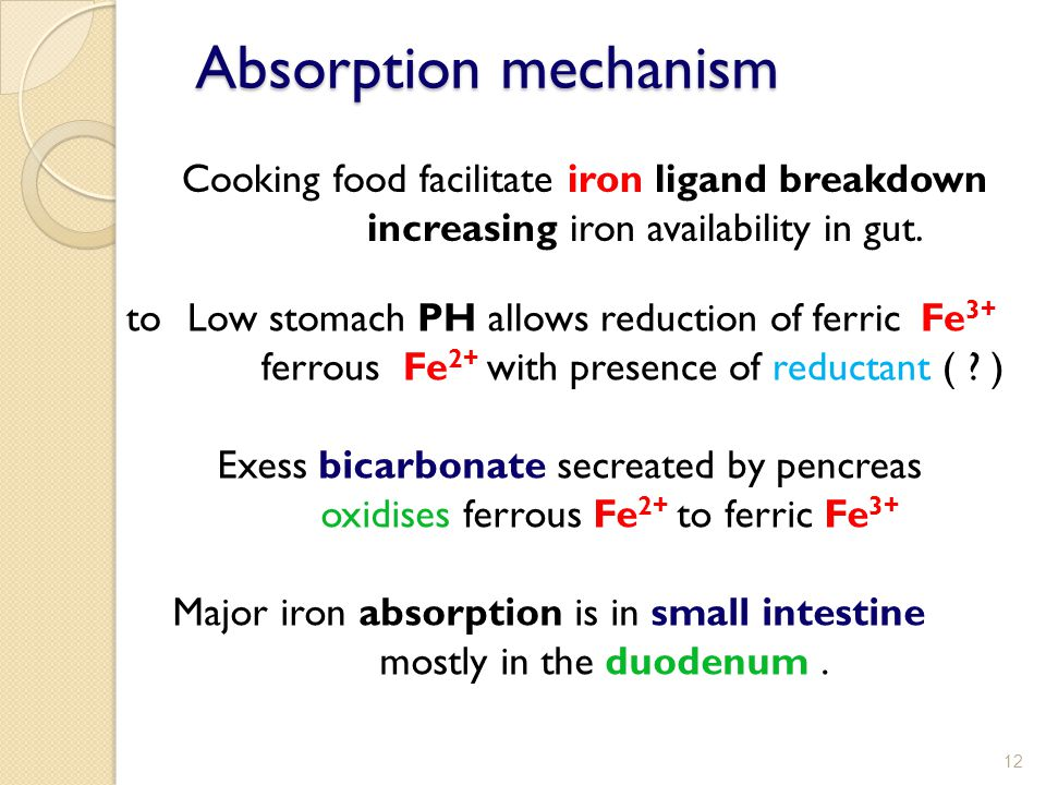 Absorption mechanism Cooking food facilitate iron ligand breakdown increasing iron availability in gut.