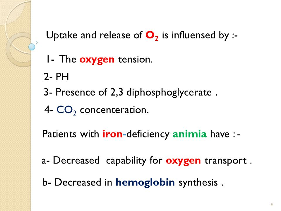 Uptake and release of O2 is influensed by :-