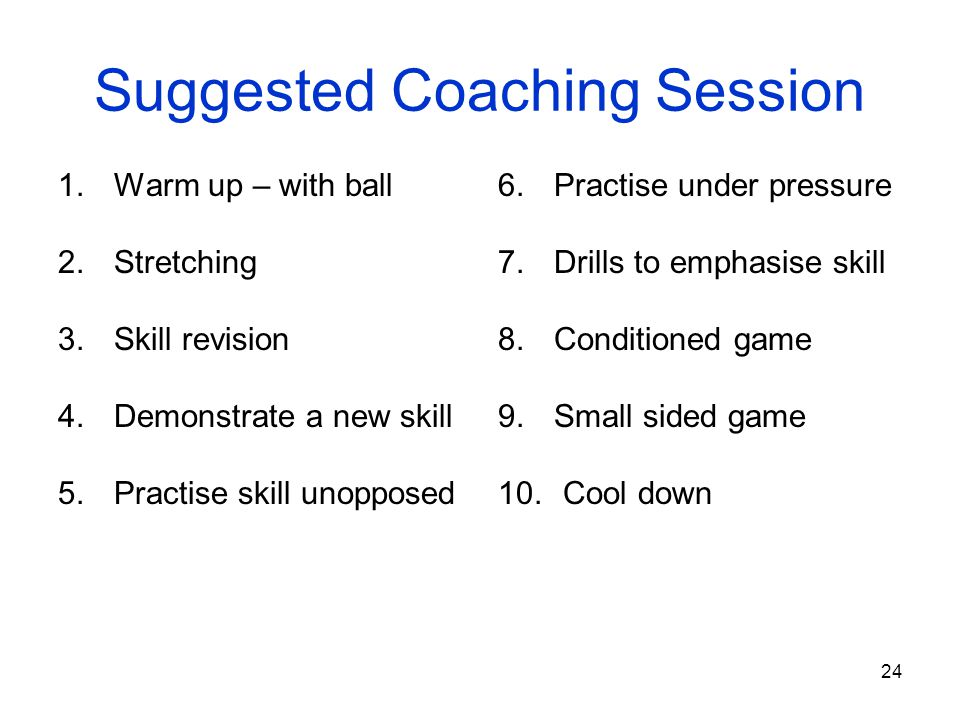Suggested Coaching Session