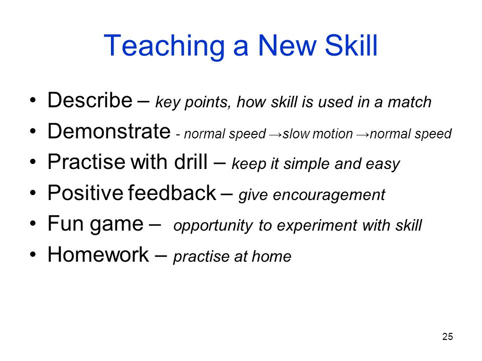Teaching a New Skill Describe – key points, how skill is used in a match. Demonstrate - normal speed →slow motion →normal speed.