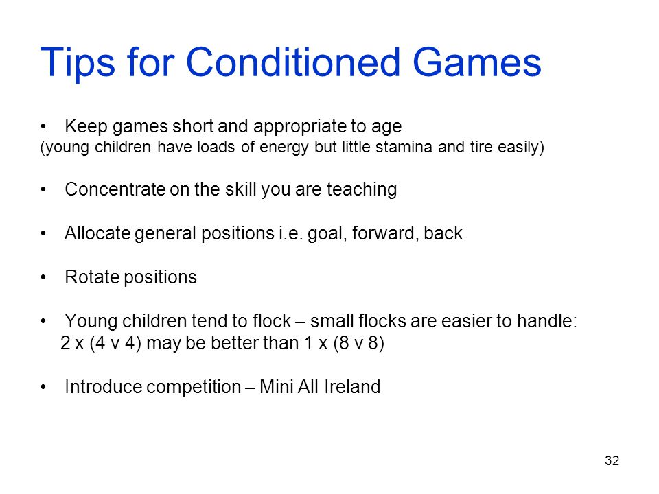 Tips for Conditioned Games