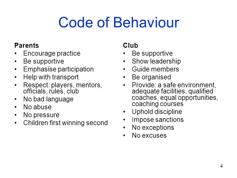 Code of Behaviour Parents Encourage practice Be supportive