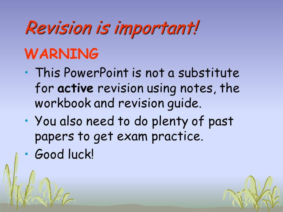 Revision is important! WARNING