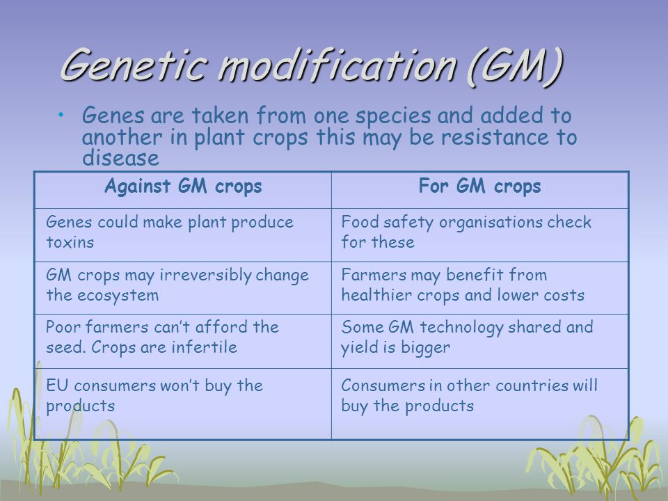 Genetic modification (GM)
