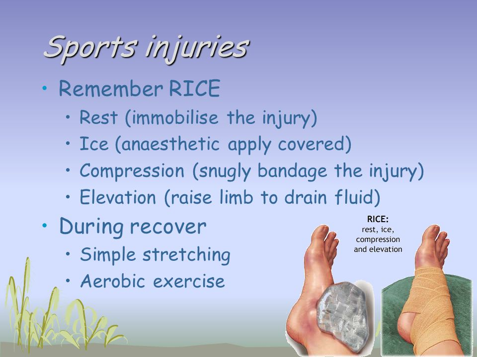 Sports injuries Remember RICE During recover