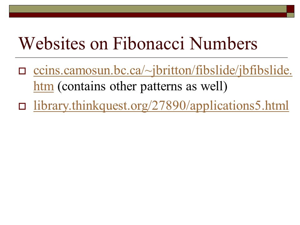 Websites on Fibonacci Numbers