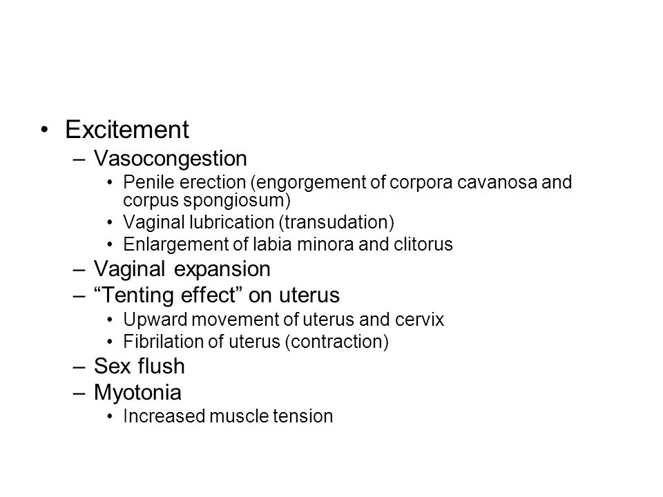 Excitement Vasocongestion Vaginal expansion Tenting effect on uterus