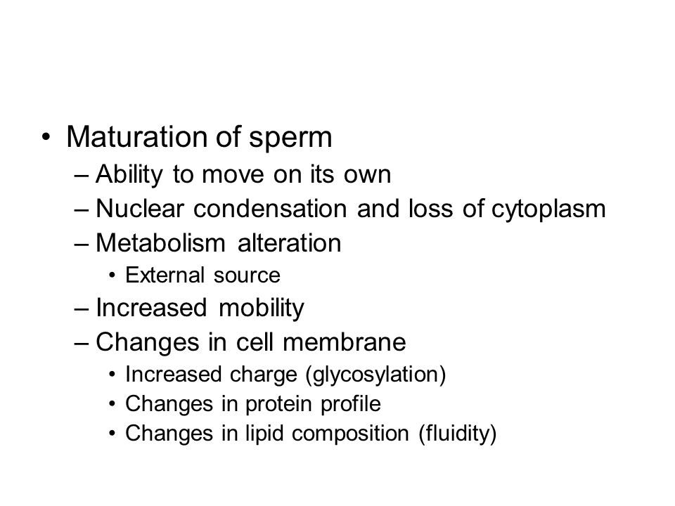 Maturation of sperm Ability to move on its own
