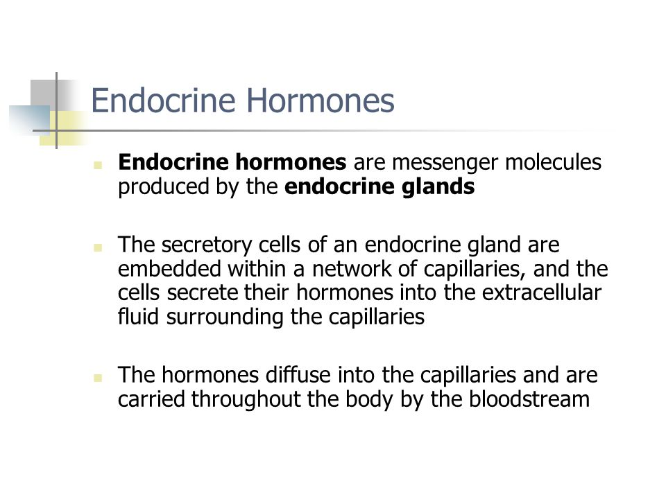 Endocrine Hormones Endocrine hormones are messenger molecules produced by the endocrine glands.