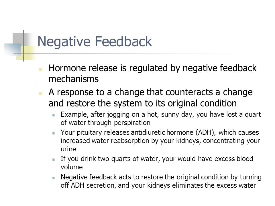 Negative Feedback Hormone release is regulated by negative feedback mechanisms.