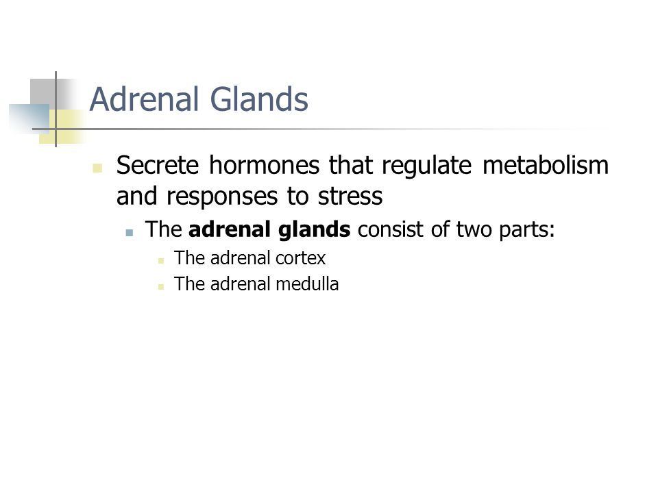 Adrenal Glands Secrete hormones that regulate metabolism and responses to stress. The adrenal glands consist of two parts: