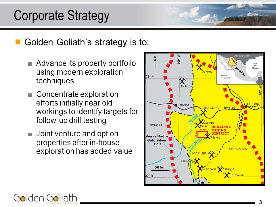 Corporate Strategy Golden Goliath's strategy is to: