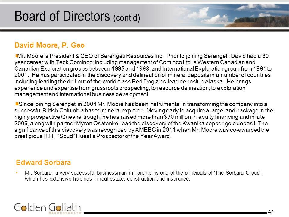 Board of Directors (cont'd)
