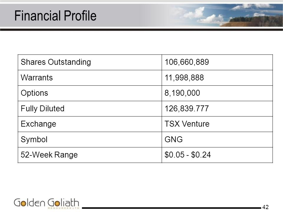 Financial Profile Shares Outstanding 106,660,889 Warrants 11,998,888