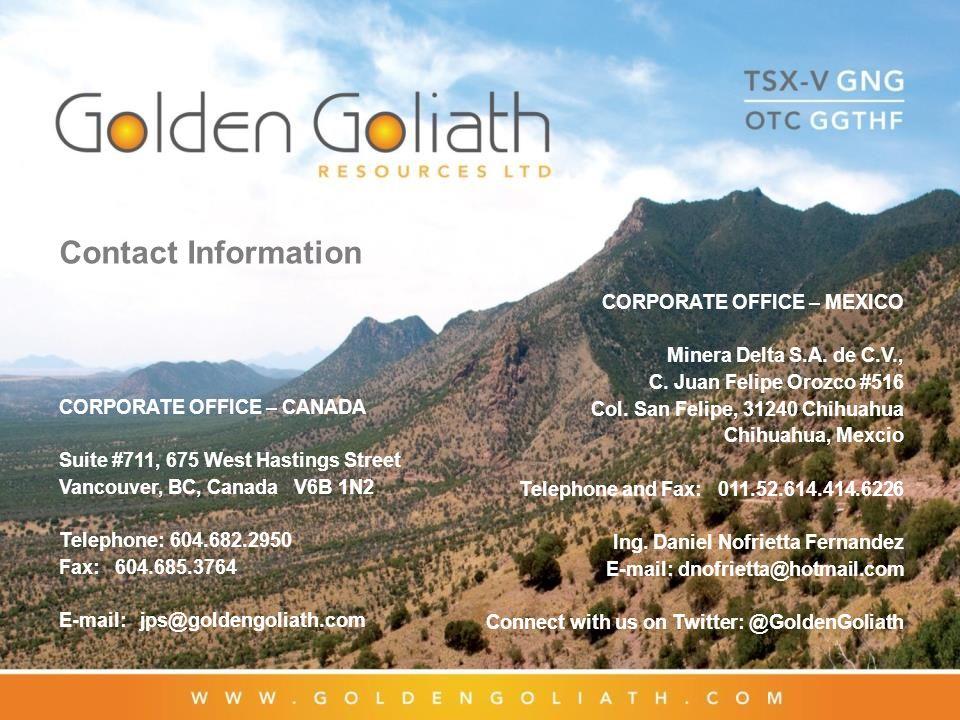 Contact Information CORPORATE OFFICE – MEXICO. Minera Delta S.A. de C.V., C. Juan Felipe Orozco #516.
