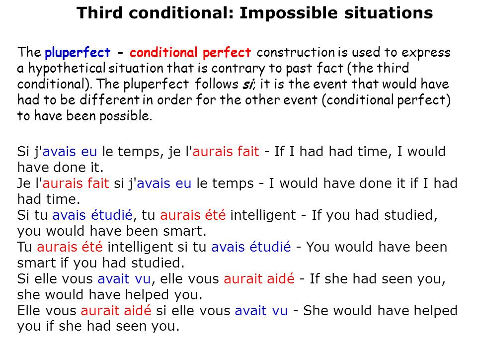 Third conditional: Impossible situations